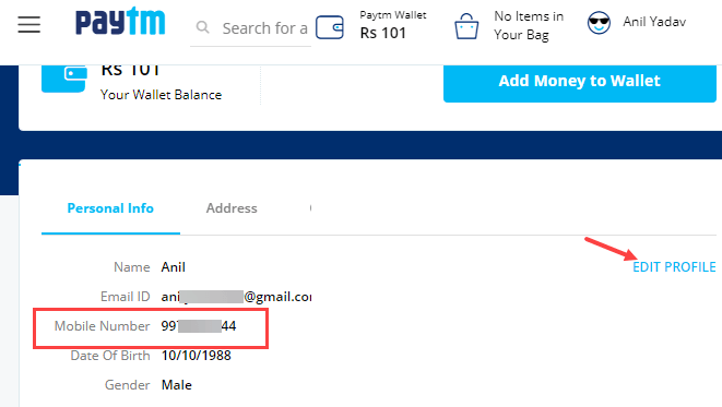 change paytm registered mobile number