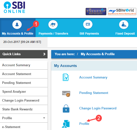 register update email id SBI account