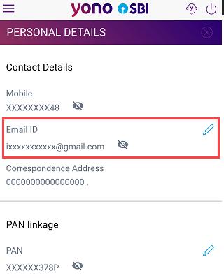 sbi email register change