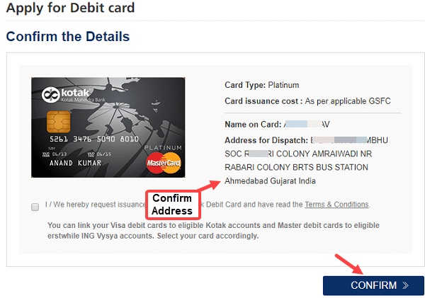 Kotak Mahindra Bank Apply Debit card online