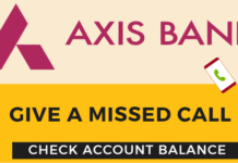 axis bank missed call banking check balance