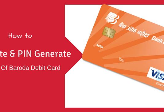 bank of baroda debit card activation generate pin