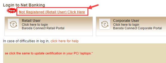 bank of baroda net banking register online