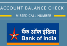 bank of india account balance check missed call number