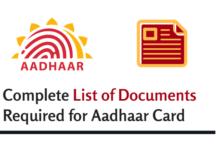 list documents for aadhaar card