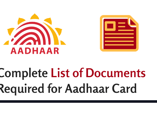 list documents for aadhaar card