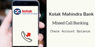 kotak bank balance check missed call