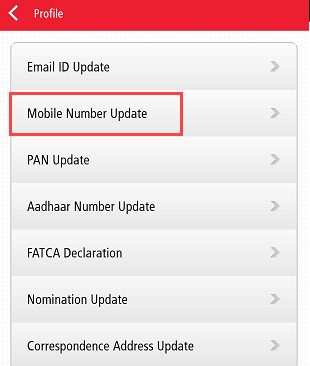 Kotak Change registered mobile number