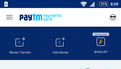 paytm saving account money transfer