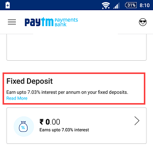 paytm saving account fix deposit