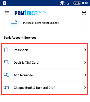 paytm saving account demo