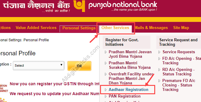 aadhaar card link to pnb account (punjab national bank)