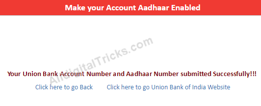 Union Bank of India Link Aadhaar Online