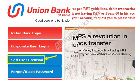 union bank of india net banking registration
