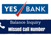yes bank missed call balance check