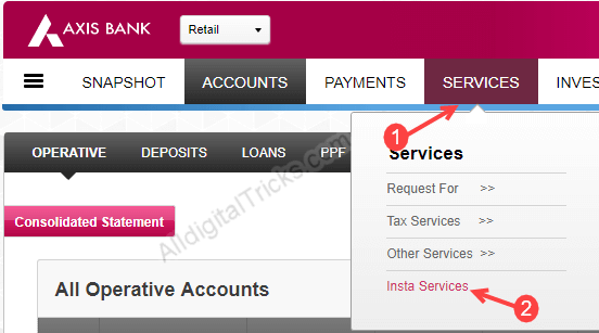 Axis bank transfer account to another branch online