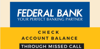 federal bank check account balance missed call