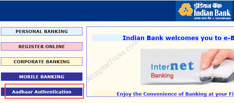 Indian bank link aadhaar card