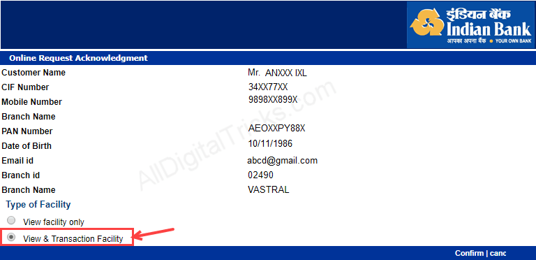 how to register email id in indian bank net banking