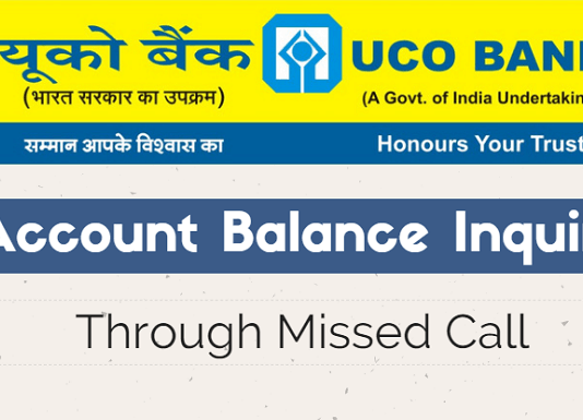 UCO Bank Missed call account balance check