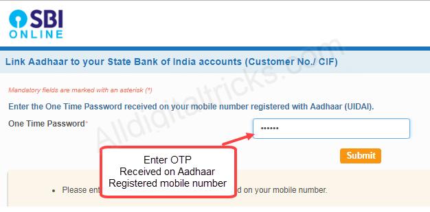 Aadhaar link SBI Online