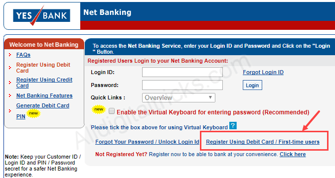 yes bank net banking activate online