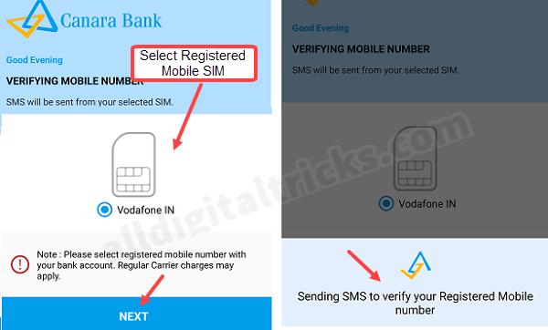 Canara Bank Mobile Banking Registration Process