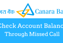 check canara bank account balance missed call
