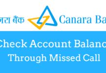 check canara bank account balance missed call