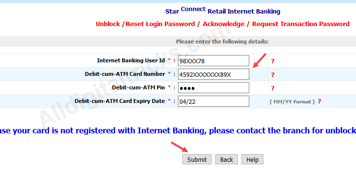 Bank of India transaction Password enable activate