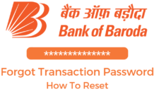 reset transaction password bank of baroda