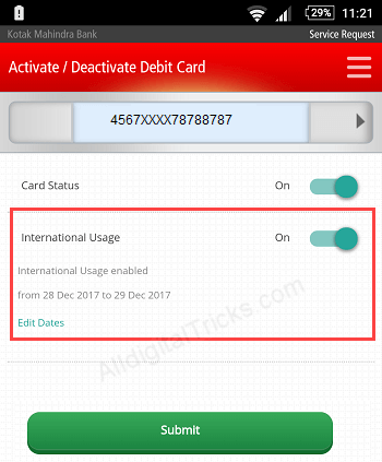 Kotak debit card enable International usage