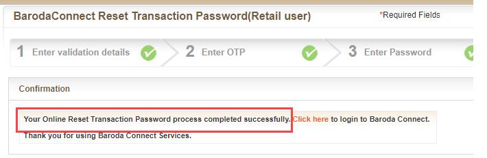 reset transaction password bank of baroda