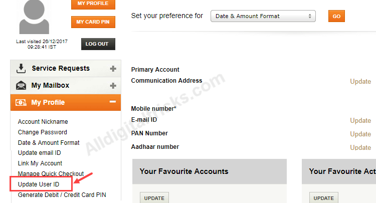 how to update address in icici internet banking