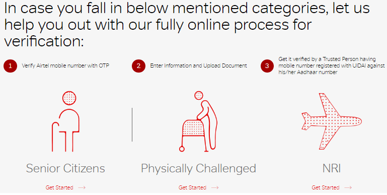 Airtel Aadhaar Re-verification Online