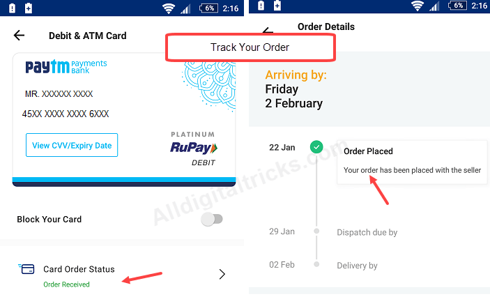 order physical debit card paytm payments bank