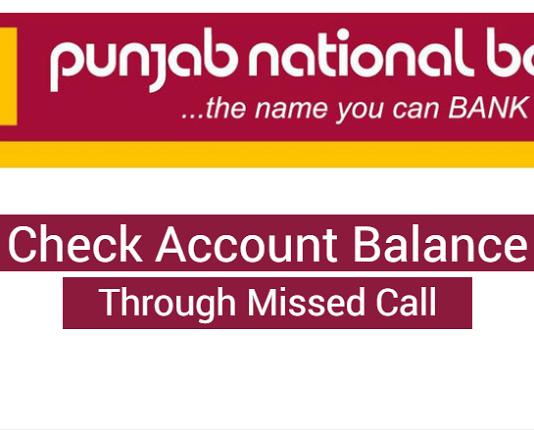 check balance punjab national bank missed call