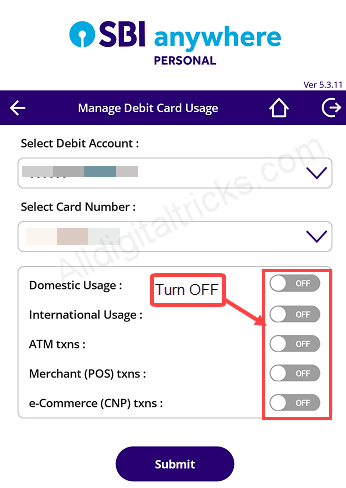 sbi atm debit card temporary block, switch off/on