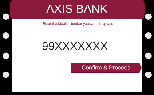 axis bank change update mobile number