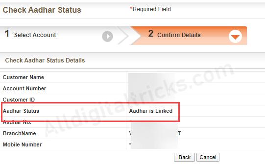 Bank of Baroda Aadhaar Link status