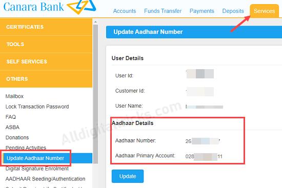 Canara Aadhaar link status