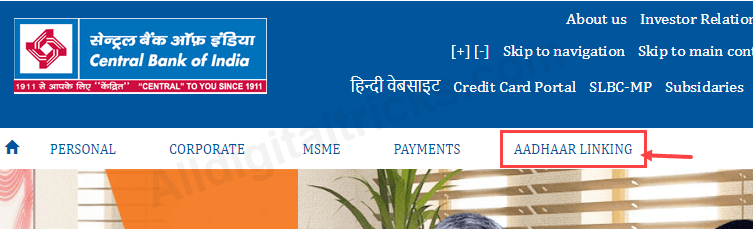 link aadhaar central bank of India