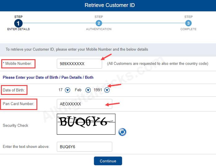 forgot hdfc customer id retrieve online