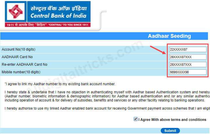 Link Aadhaar Online With Central Bank of India Account (CBI