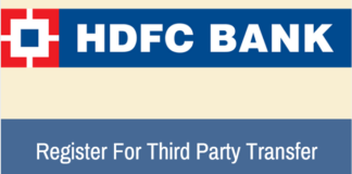 HDFC bank register third party fund transfer TPT