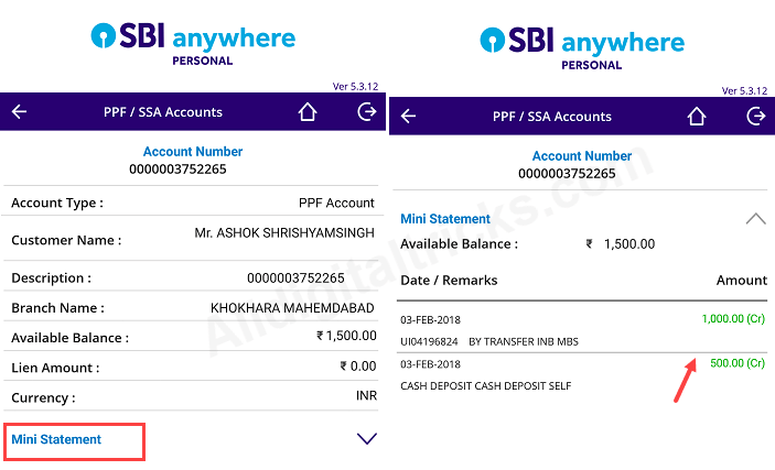 check sbi ppf balance statement online