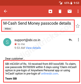 SBI mCash How to Send receive money
