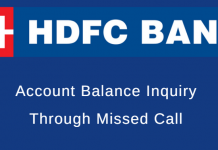 hdfc account balance missed call