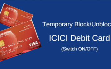 temporary block unblock icici atm debit card