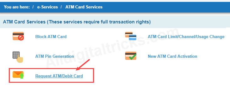 SBI EMV CHIP ATM Debit card request online
